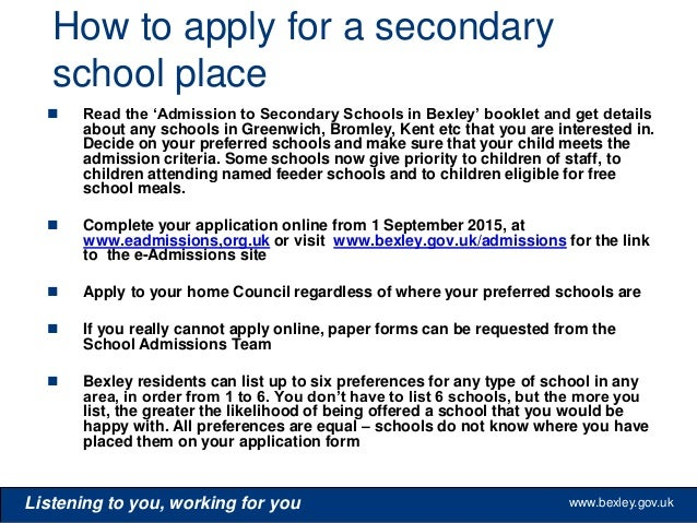 application letter for admission to secondary school Read about how to apply for a secondary school place in brent, to start in  our  apply on time for school place leaflet to help you when you are applying.