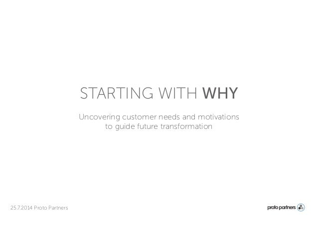 Uncovering customer needs and motivations to guide future transformation 25.7.2014 Proto Partners STARTING WITH WHY