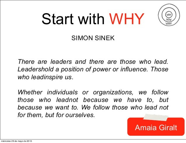 Start with WHYSIMON SINEKThere are leaders and there are those who lead.Leadershold a position of power or influence. Thos...