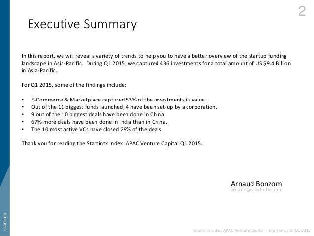 Startintx Index: APAC Venture Capital - Top Trends of Q1 2015 Slide 3