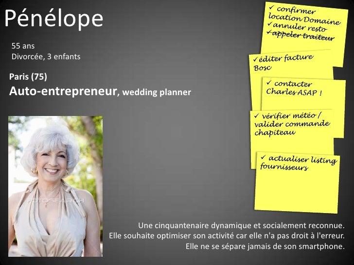 Pénélope 55 ans Divorcée, 3 enfants  Paris (75) Auto-entrepreneur, wedding planner                                   Une c...