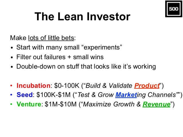 "The Lean Investor Make lots of little bets: • Start with many small ""experiments"" • Filter out failures + small wins • Dou..."