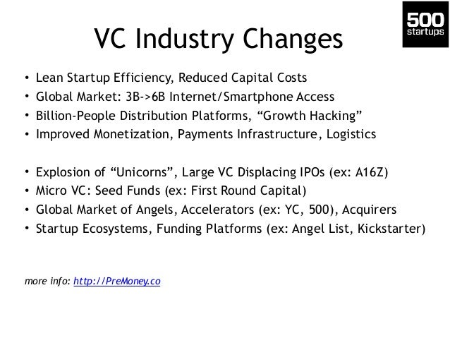 VC Industry Changes • Lean Startup Efficiency, Reduced Capital Costs • Global Market: 3B->6B Internet/Smartphone Access • ...