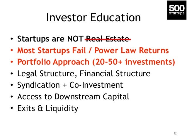 Investor Education • Startups are NOT Real Estate • Most Startups Fail / Power Law Returns • Portfolio Approach (20-50+ in...