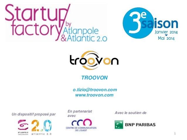 TROOVON o.tizio@troovon.com www.troovon.com  Un dispositif proposé par  En partenariat avec  Avec le soutien de  1