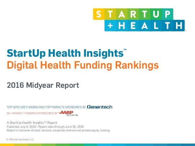 © 2016 StartUp Health, LLC A StartUp Health InsightsTM Report  Published July 6, 2016 | Report data through June 30, 2016...