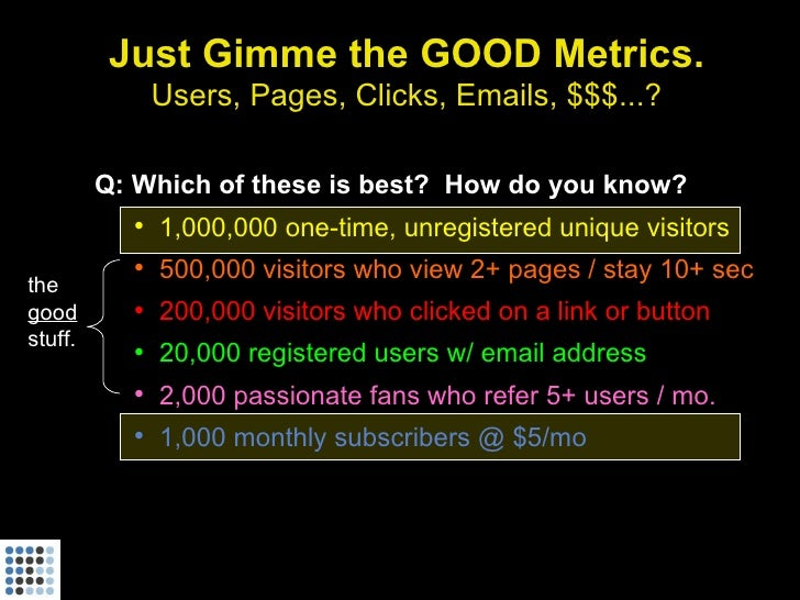 Just Gimme the GOOD Metrics.              Users, Pages, Clicks, Emails, $$$...?           Q: Which of these is best? How d...
