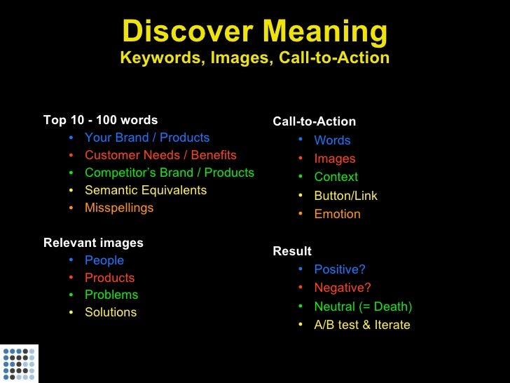 Discover Meaning             Keywords, Images, Call-to-Action   Top 10 - 100 words                    Call-to-Action     •...