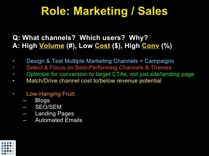 Role: Marketing / Sales  Q: What channels? Which users? Why? A: High Volume (#), Low Cost ($), High Conv (%)  •    Design ...