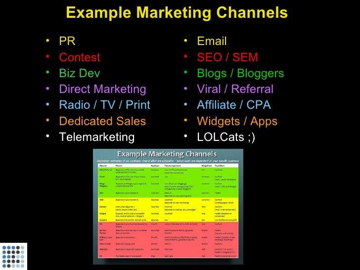 Example Marketing Channels •   PR                   •   Email •   Contest              •   SEO / SEM •   Biz Dev          ...