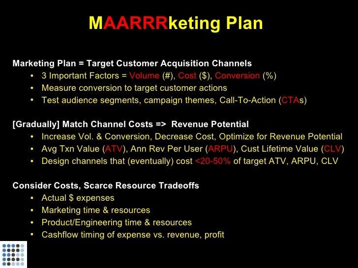 MAARRRketing Plan  Marketing Plan = Target Customer Acquisition Channels    • 3 Important Factors = Volume (#), Cost ($), ...