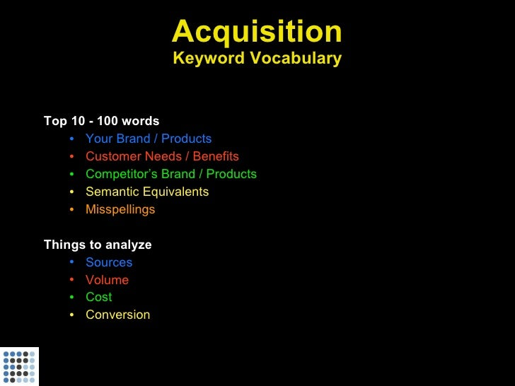 Acquisition                      Keyword Vocabulary   Top 10 - 100 words     • Your Brand / Products     • Customer Needs ...
