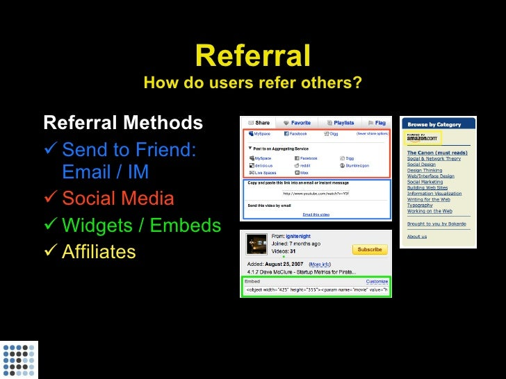 Referral           How do users refer others?  Referral Methods  Send to Friend:   Email / IM  Social Media  Widgets / ...