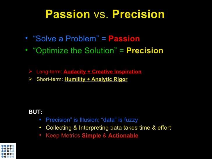 "Passion vs. Precision • ""Solve a Problem"" = Passion • ""Optimize the Solution"" = Precision   Long-term: Audacity + Creativ..."