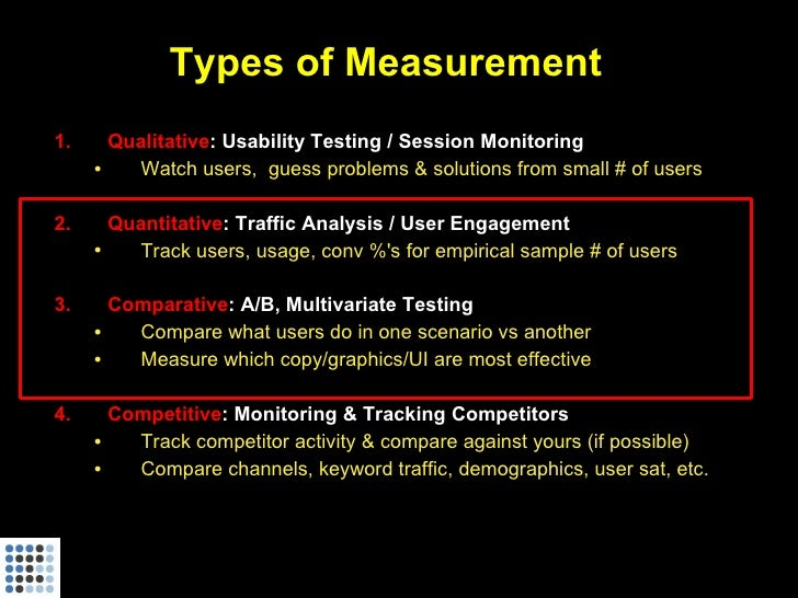 Types of Measurement 1.     Qualitative: Usability Testing / Session Monitoring      •   Watch users, guess problems & sol...