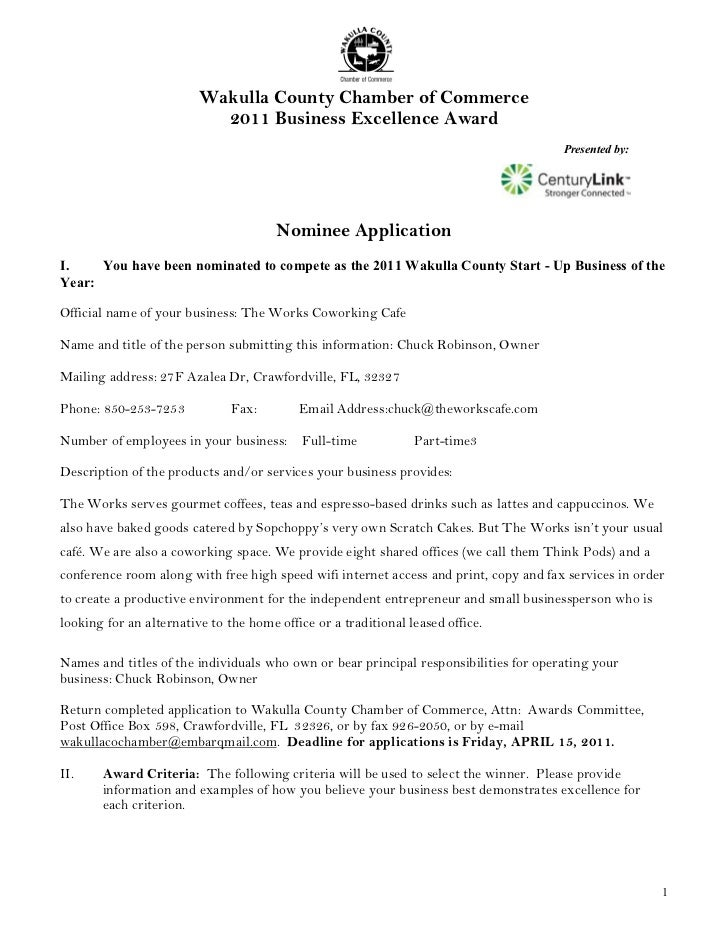 Wakulla County Chamber of Commerce                           2011 Business Excellence Award                               ...