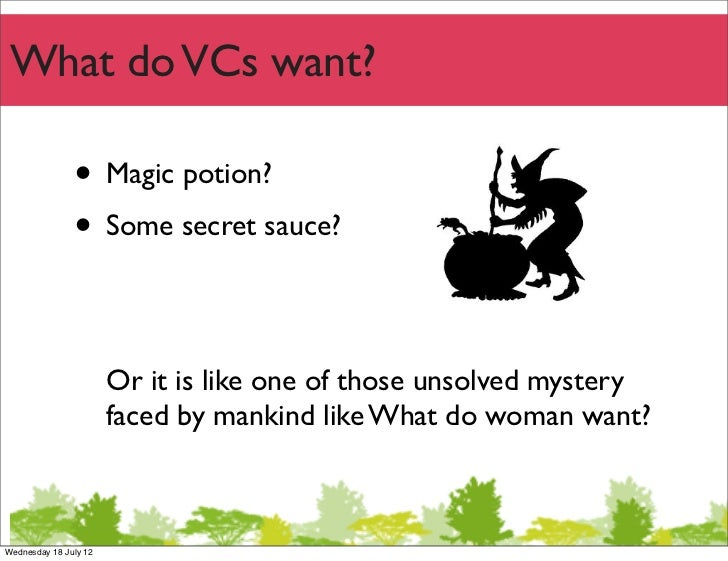 What do VCs want?               • Magic potion?               • Some secret sauce?                       Or it is like one...