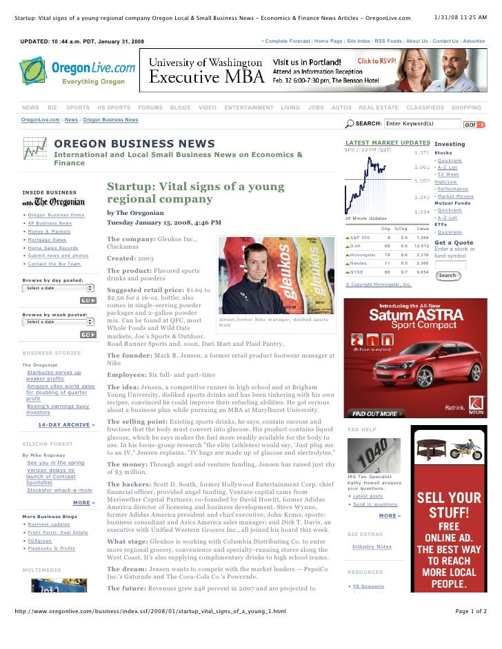 1/31/08 11:25 AM Startup: Vital signs of a young regional company Oregon Local & Small Business News  Economics & Finance...