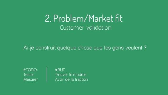 2. Problem/Market fit Customer validation Ai-je construit quelque chose que les gens veulent ? #TODO Tester Mesurer #BUT Tr...