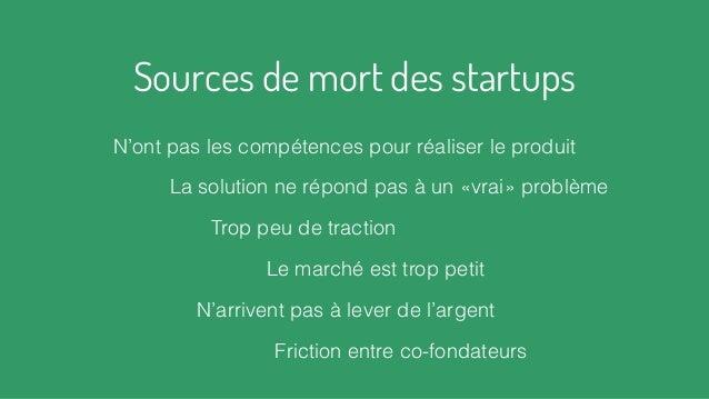 Sources de mort des startups Friction entre co-fondateurs N'arrivent pas à lever de l'argent Trop peu de traction La solut...