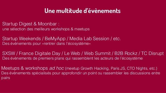 Une multitude d'évènements Startup Digest & Moonbar : une sélection des meilleurs workshops & meetups Startup Weekends / B...
