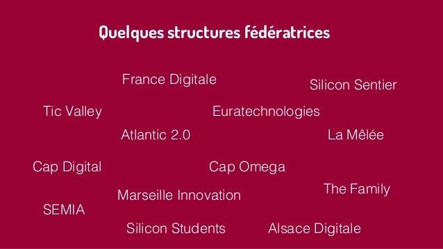 Quelques structures fédératrices France Digitale Silicon Sentier Tic Valley Atlantic 2.0 Euratechnologies Cap Omega Alsace...
