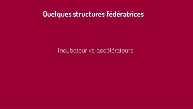 Quelques structures fédératrices Incubateur vs accélérateurs
