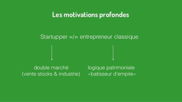 Startupper =/= entrepreneur classique Les motivations profondes logique patrimoniale «batisseur d'empire» double marché (v...