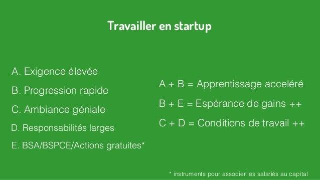 A. Exigence élevée E. BSA/BSPCE/Actions gratuites* Travailler en startup C. Ambiance géniale A + B = Apprentissage accelér...