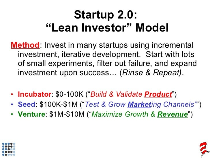 "Startup 2.0:  ""Lean Investor"" Model <ul><li>Method : Invest in many startups using incremental investment, iterative devel..."