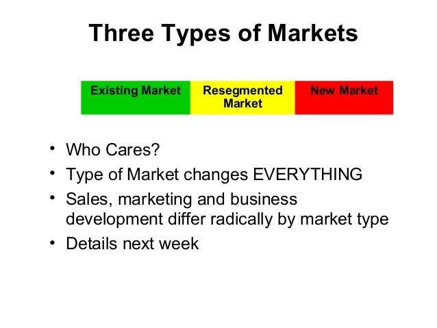 Three Types of Markets • Who Cares? • Type of Market changes EVERYTHING • Sales, marketing and business development differ...