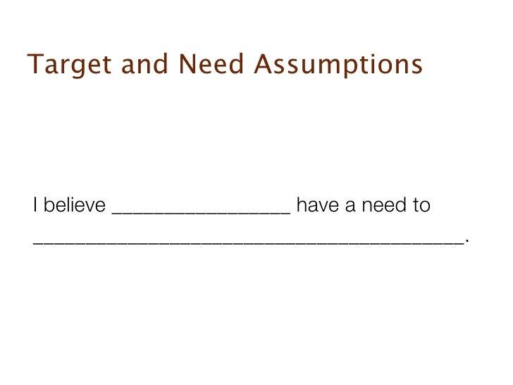 Startup assumptions Slide 2