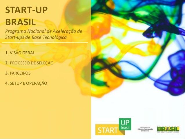 START-UPBRASILPrograma Nacional de Aceleração deStart-ups de Base Tecnológica1. VISÃO GERAL2. PROCESSO DE SELEÇÃO3. PARCEI...