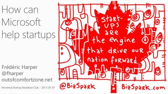 Frédéric Harper@fharperoutofcomfortzone.netMontreal Startup Breakfast Club – 2013-05-07