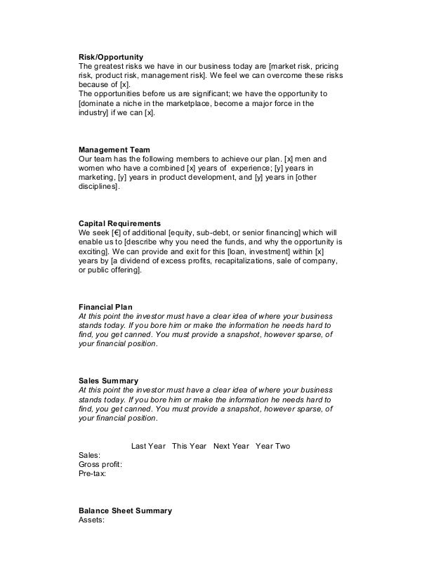 Startup business plan template 1