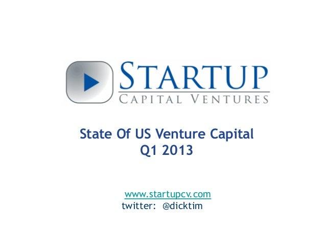 State Of US Venture CapitalQ1 2013www.startupcv.comtwitter: @dicktim