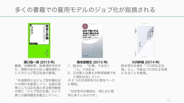 12 多くの書籍での雇用モデルのジョブ化が指摘される 海老原嗣生 (2013 年) 1. 給与は、「仕事」ではなく 「人」で決まる 2. 正社員とは誰もが幹部候補であ り原則出世していく の 2 つの日本特有の公理をベース に解説。 「日本型年...