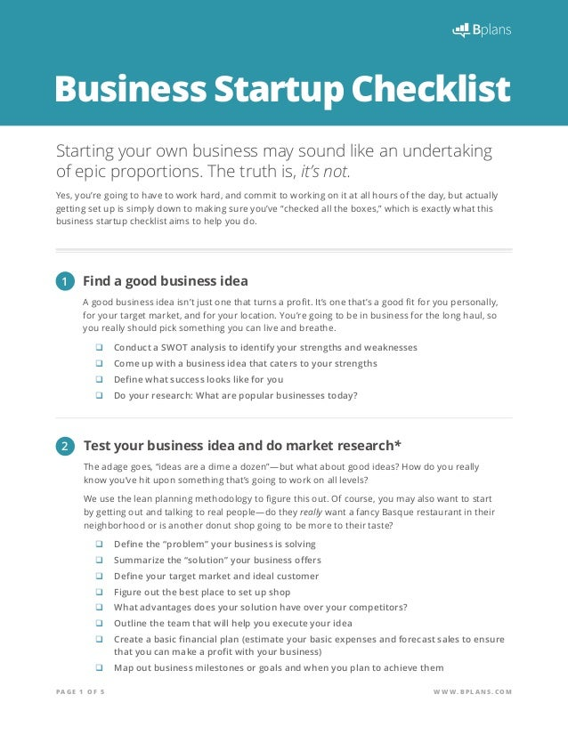 PA G E 1 O F 5 WWW.BPLAN S .CO M Business Startup Checklist Starting ...