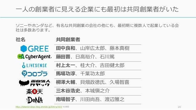 ソニーやホンダなど、有名な共同創業の会社の他にも、最初期に複数⼈で起業している会 社は多数あります。 http://takanoridayo.blog.shinobi.jp/Entry/367/ を参照 20 ⼀⼈の創業者に⾒える企業にも最初は...