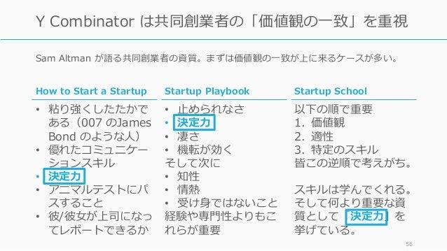 Sam Altman が語る共同創業者の資質。まずは価値観の⼀致が上に来るケースが多い。 56 Y Combinator は共同創業者の「価値観の⼀致」を重視 Startup Playbook • ⽌められなさ • 決定⼒ • 凄さ • 機転が...
