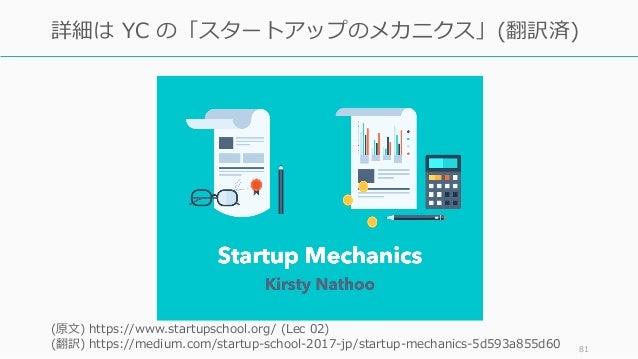 81 詳細は YC の「スタートアップのメカニクス」(翻訳済) (原⽂) https://www.startupschool.org/ (Lec 02) (翻訳) https://medium.com/startup-school-2017-j...
