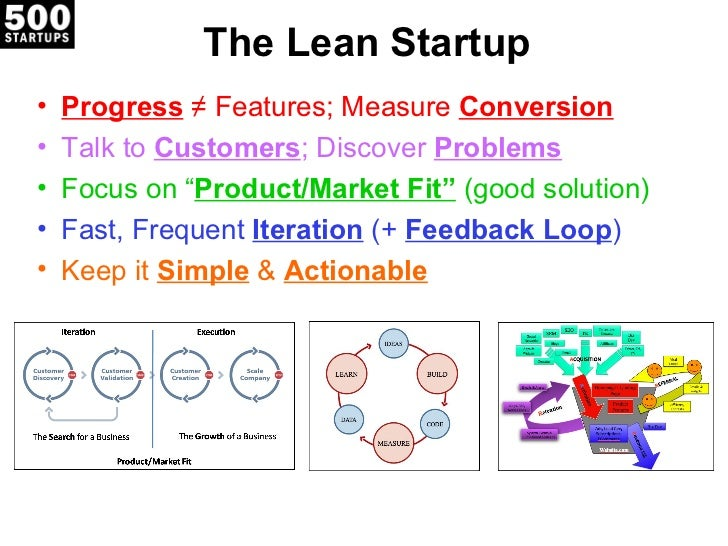 """The Lean Startup•   Progress ≠ Features; Measure Conversion•   Talk to Customers; Discover Problems•   Focus on """"Product/M..."""