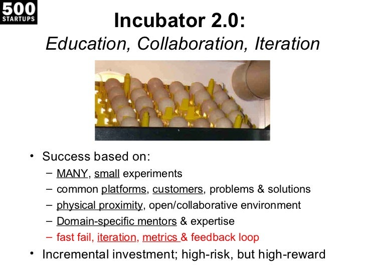 Incubator 2.0:  Education, Collaboration, Iteration• Success based on:  –   MANY, small experiments  –   common platforms,...