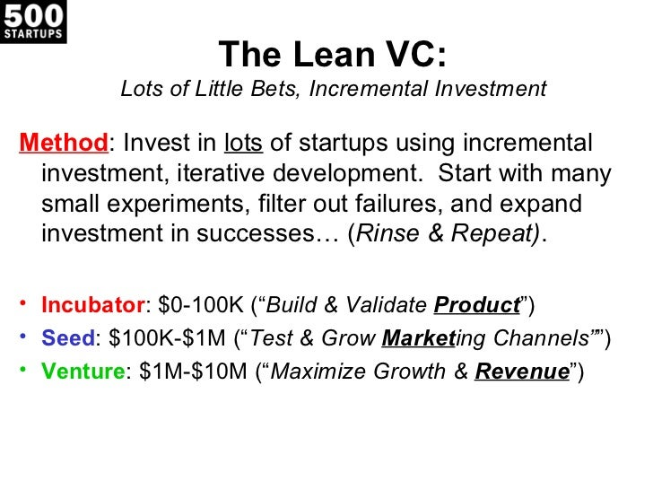 The Lean VC:         Lots of Little Bets, Incremental InvestmentMethod: Invest in lots of startups using incremental inves...