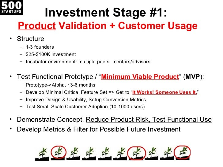 Investment Stage #1:  Product Validation + Customer Usage• Structure   – 1-3 founders   – $25-$100K investment   – Incubat...