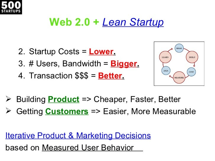 Web 2.0 + Lean Startup   2. Startup Costs = Lower.   3. # Users, Bandwidth = Bigger.   4. Transaction $$$ = Better. Build...