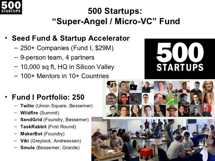 """500 Startups:                   """"Super-Angel / Micro-VC"""" Fund• Seed Fund & Startup Accelerator  –   250+ Companies (Fund I..."""