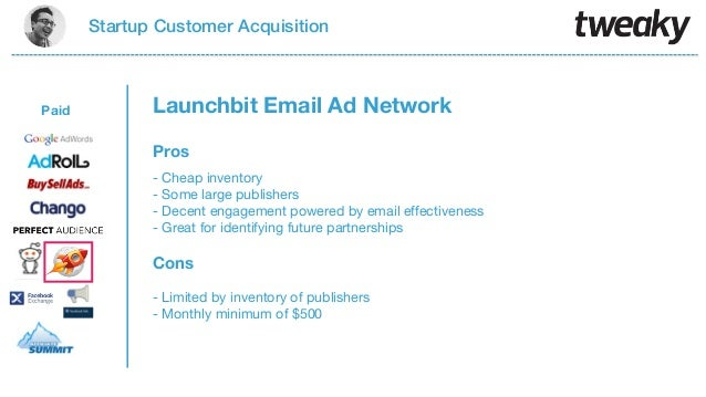 Startup Customer AcquisitionPaidProsCons- Cheap inventory- Some large publishers- Decent engagement powered by email effec...