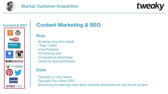"""Startup Customer AcquisitionProsCons- Building long term asset- """"Free"""" traffic- Viral Potential- Positioning tool- Competit..."""