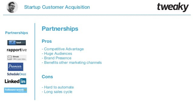Startup Customer AcquisitionProsCons- Competitive Advantage- Huge Audiences- Brand Presence- Benefits other marketing chann...